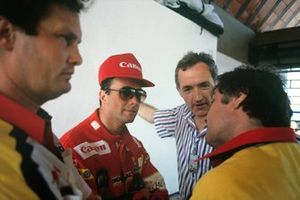 Nigel Mansell, Williams, mit Frank Dernie und Patrick Head
