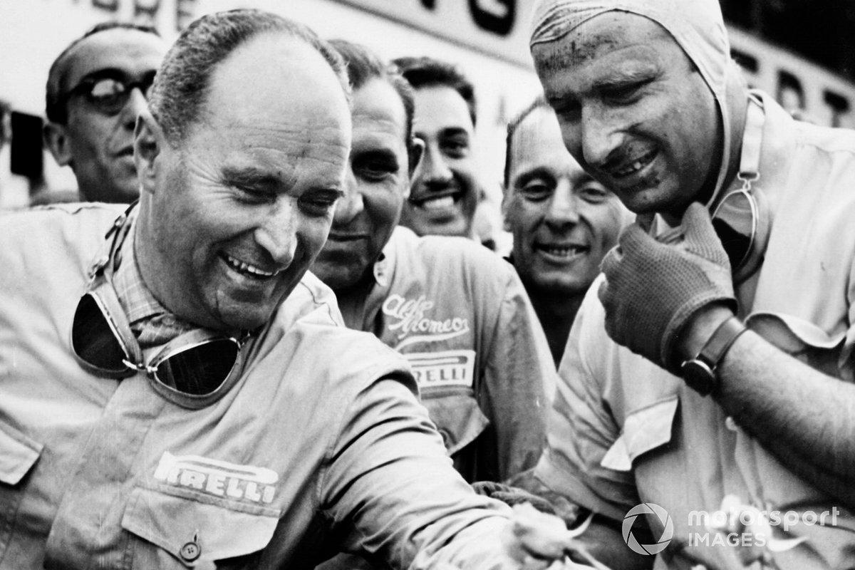 Juan Manuel Fangio, Alfa Romeo, Luigi Fagioli, Alfa Romeo after finishing in first and second position
