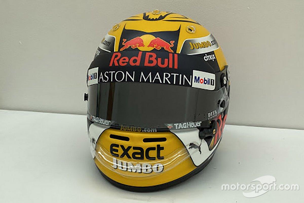 Il casco di Max Verstappen, Red Bull Racing, 2018 Austrian Grand Prix