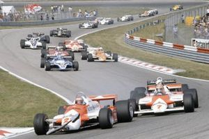 Mario Andretti, Alfa Romeo 179C, John Watson, McLaren MP4/1-Ford Cosworth, Elio de Angelis, Lotus 87-Ford Cosworth, Patrick Tambay, Ligier JS17-Matra, Riccardo Patrese, Arrows A3-Ford Cosworth, Didier Pironi, Ferrari 126CK, Bruno Giacomelli, Alfa Romeo 179C, Hector Rebaque, Brabham BT49C-Ford Cosworth, Derek Daly, March 811-Ford Cosworth, Nigel Mansell, Lotus 87-Ford Cosworth, Jean-Pierre Jarier, Osella FA1B-Ford Cosworth, Marc Surer, Theodore TY01-Ford Cosworth, Eliseo Salazar, Ensign N180B-Ford Cosworth