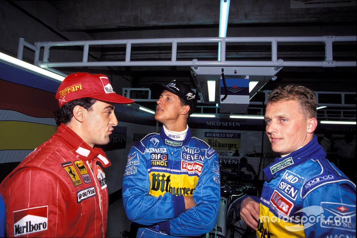 Jean Alesi, Michael Schumacher, y Johnny Herbert