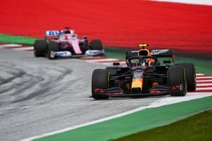 Alex Albon, Red Bull Racing RB16, leads Sergio Perez, Racing Point RP20