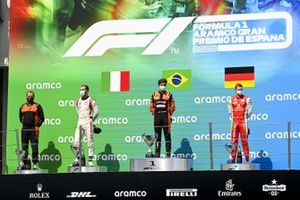 Luca Ghiotto, HITECH GRAND PRIX, Race Winner Felipe Drugovich, MP Motorsport and Mick Schumacher, Prema Racing on the podium