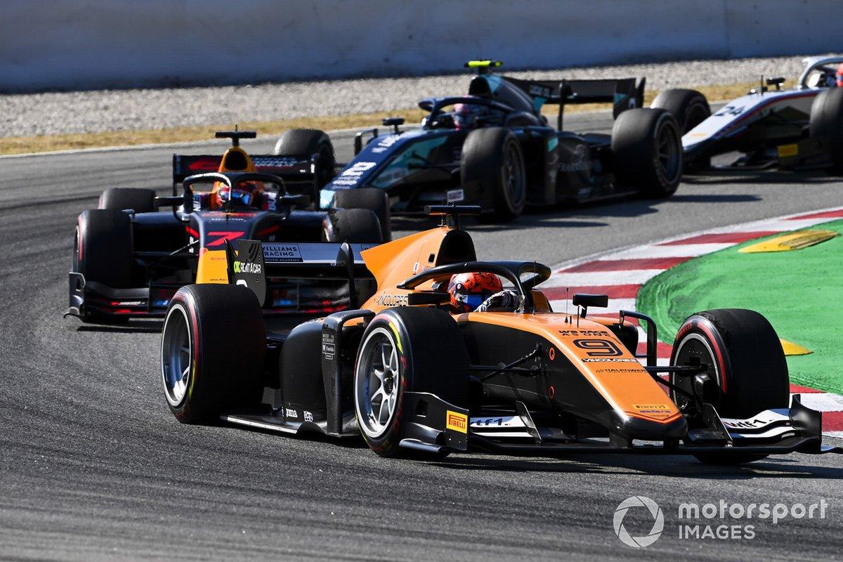 Jack Aitken, Campos Racing, precede Yuki Tsunoda, Carlin, e Dan Ticktum, Dams