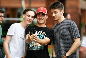Charles Leclerc, Ferrari takes a selfie with fans