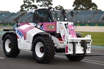 A JCB in Racing Poing livery