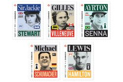 Des timbres de Sir Jackie Stewart, Gilles Villeneuve, Ayrton Senna, Michael Schumacher, Lewis Hamilton