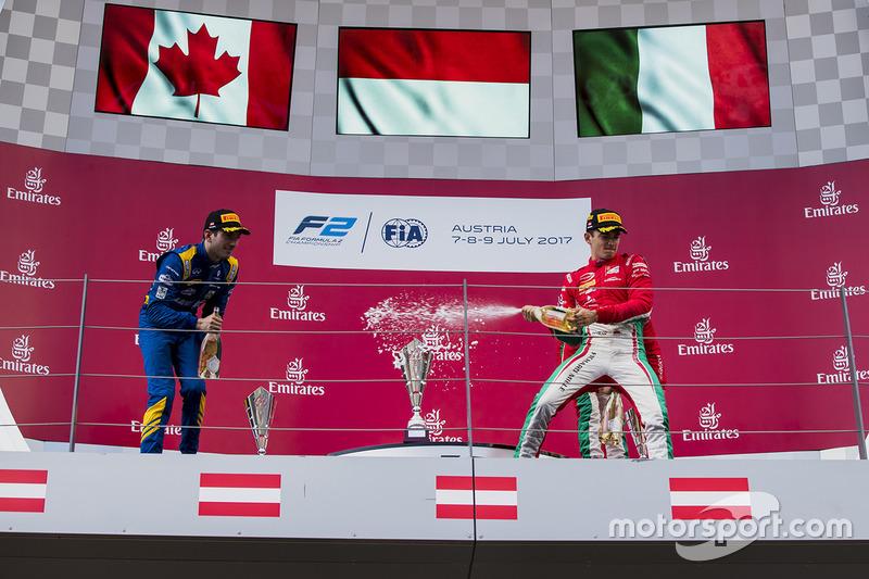Подіум: переможець Шарль Леклер (PREMA Powerteam), другий призер Ніколя Латіфі (DAMS) і третій призер Антоніо Фуоко (PREMA Powerteam)