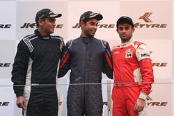Podium: race winner Anindith Reddy, second place Nayan Chatterjee, third place Akhil Rabindra