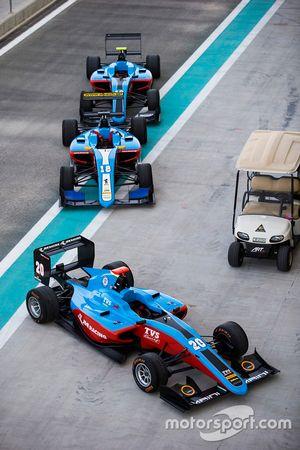 Cars of Arjun Maini, Jenzer Motorsport, Akash Nandy, Jenzer Motorsport & Alessio Lorandi, Jenzer Motorsport in the pit lane