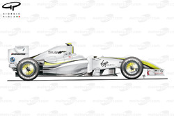Brawn BGP 001 2009 Abu Dhabi side view