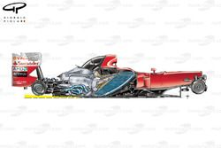 Ferrari F10 side view, yellow line shows engine inclination