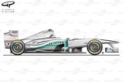 Vue latérale de la Mercedes W02, Italie