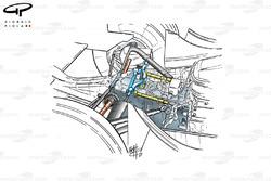 Vue d'ensemble détaillée de la suspension arrière de la Minardi PS01