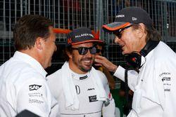 Zak Brown, Executive Director, McLaren Technology Group, talks to Mansour Ojjeh and Fernando Alonso, McLaren