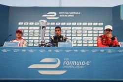 Felix Rosenqvist, Mahindra Racing, Sébastien Buemi, Renault e.Dams, and Lucas di Grassi, ABT Schaeffler Audi Sport, in the press conference