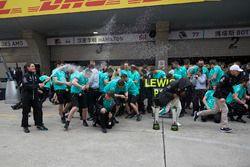 Race winner Lewis Hamilton, Mercedes AMG, and Valtteri Bottas, Mercedes AMG, celebrate with the Merc
