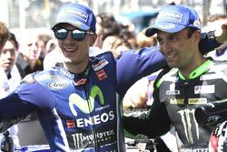 Winner Maverick Viñales, Yamaha Factory Racing, second place Johann Zarco, Monster Yamaha Tech 3