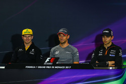 Nico Hulkenberg, Renault Sport F1 Team, Jenson Button, McLaren and Esteban Ocon, Force India F1 in the Press Conference