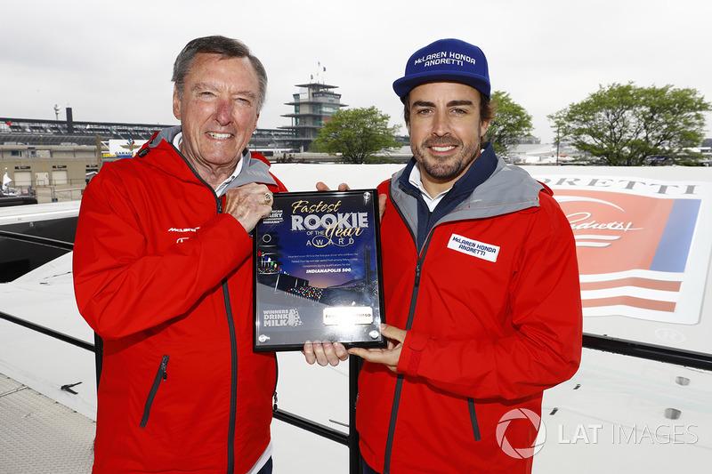 Fernando Alonso, Andretti Autosport Honda, with Johnny Rutherford