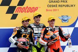 Podium: second place Marc Marquez, Race winner Andrea Iannone, third place Stefan Bradl
