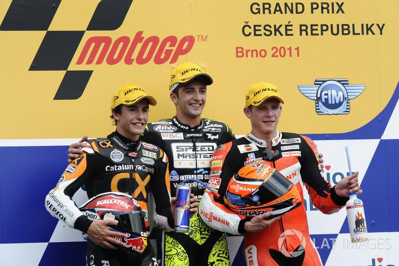 Podio: 1º Andrea Iannone, 2º Marc Márquez, 3º Stefan Bradl