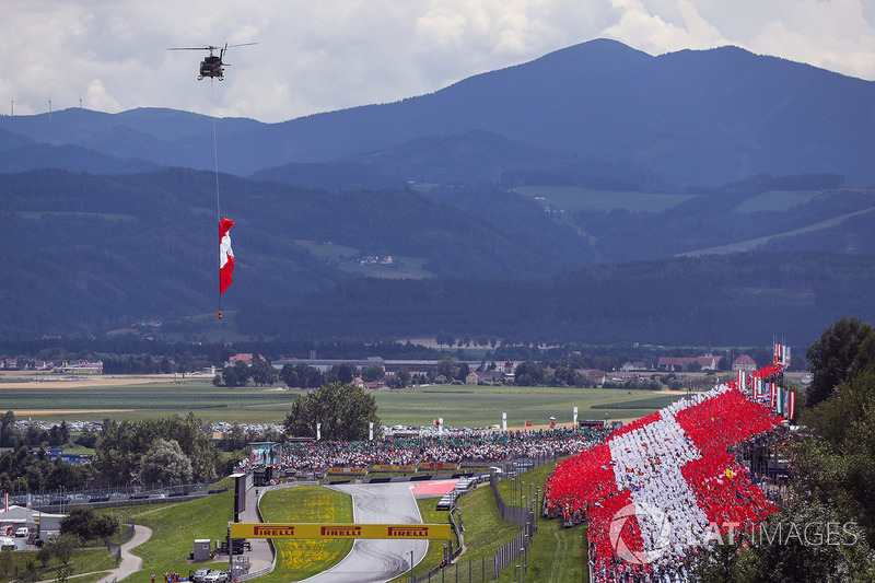 Helicopter, Austrian flag, grandstand