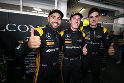 Polesitters Adam Christodoulou, Yelmer Buurman, Luca Stolz, Mercedes-AMG Team Black Falcon