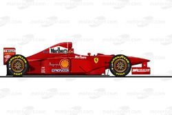 La Ferrari F310B pilotée par Michael Schumacher en 1997<br/> Reproduction interdite, exclusivité Mot