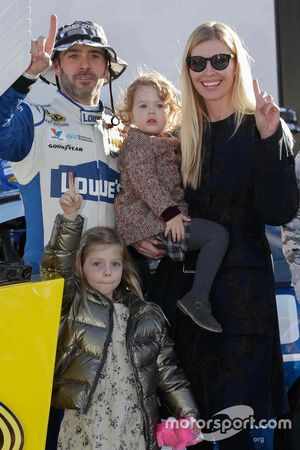 Race winner Jimmie Johnson, Hendrick Motorsports Chevrolet celebrates with wife Chandra and two daughters Genevieve and Lydia