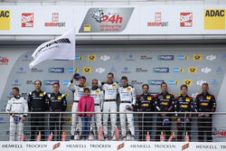 Podium: second place #29 AMG-Team HTP Motorsport, Mercedes-AMG GT3: Christian Vietoris, Marco Seefried, Christian Hohenadel, Renger Van der Zande; first place #4 AMG-Team Black Falcon, Mercedes-AMG GT3: Bernd Schneider, Maro Engel, Adam Christodoulou, Manuel Metzger; third place #88 Haribo Racing Team-AMG, Mercedes-AMG GT3: Uwe Alzen, Lance David Arnold; Maximilian Götz, Jan Seyffarth