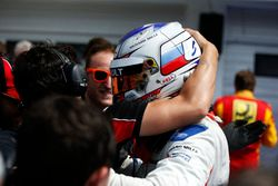 Sergey Sirotkin, ART Grand Prix celebrates with his team