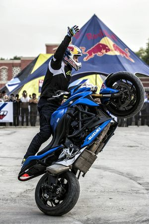 Aras Gibieza performs stunt in New Delhi
