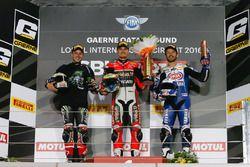 Podio: Ganador de la carrera Chaz Davies, equipo Ducati; segundo lugar Jonathan Rea, Kawasaki Racing