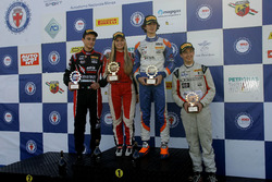 Rookie Podium Race 1: second palce Giacomo Alto, Bhaitech Engineering; Race winner Lorenzo Colombo, Bhaitech Engineering; third place Ian Rodriguez Wright, DRZ Benelli and Fabienne Wohlwend, Aragon Racing