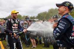 Second place Shane van Gisbergen, Triple Eight Race Engineering Holden celebrates with champagne