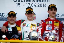 Podium: second place Joseph Mawson, Van Amersfoort Racing ; winner Mick Schumacher, Prema Powerteam ; third place Thomas Preining, Lechner Racing