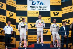 Podium: second place Tom Blomqvist, BMW Team RBM, BMW M4 DTM; Race winner Marco Wittmann, BMW Team RMG, BMW M4 DTM; third place Bruno Spengler, BMW Team MTEK, BMW M4 DTM and Stefan Reinhold, BMW Team RMG.