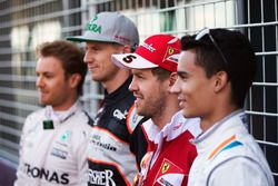 Nico Rosberg, Mercedes AMG F1 Team, Nico Hulkenberg, Sahara Force India F1, Sebastian Vettel, Ferrari and Pascal Wehrlein, Manor Racing
