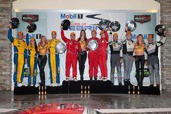 GTD podium: winners Christina Nielsen, Alessandro Balzan, Jeff Segal, Scuderia Corsa, second place Bret Curtis, Jens Klingmann, Ashley Freiberg, Turner Motorsport, third place John Potter, Andy Lally, Marco Seefried, Magnus Racing
