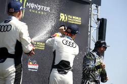 Podium: second place Toomas Heikkinen, EKS RX; Winner Mattias Ekström, EKS RX; third place Ken Block
