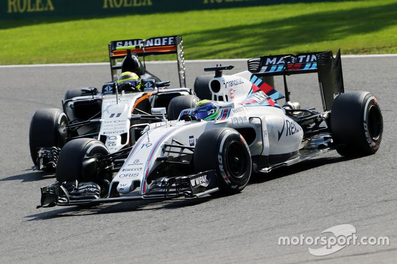 Felipe Massa, Williams FW38 e Sergio Perez, Sahara Force India F1 VJM09 lottano per la posizione