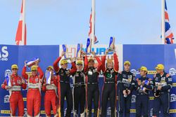 LMGTE podium: winners Rory Butcher, Robert Smith, Andrea Bertolini, JMW Motorsport, second place Johnny Laursen, Mikkel Mac, Mikkel Jensen, Formula Racing, third place Andrew Howard, Darren Turner, Alex MacDowall, Aston Martin Racing