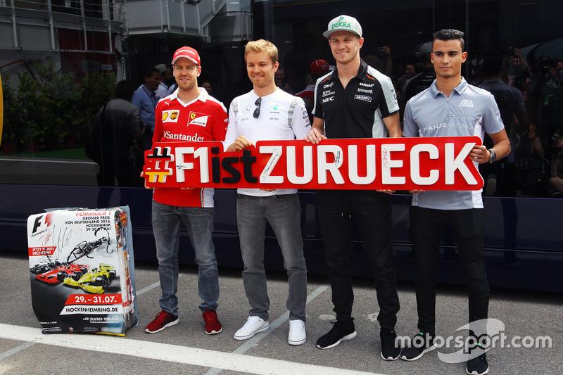 Sebastian Vettel, Ferrari; Nico Rosberg, Mercedes AMG F1; Nico Hulkenberg, Sahara Force India F1 e Pascal Wehrlein, Manor Racing, per il ritorno del GP di Germania