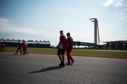 Sebastian Vettel, Ferrari walks the circuit with Jock Clear, Ferrari Engineering Director