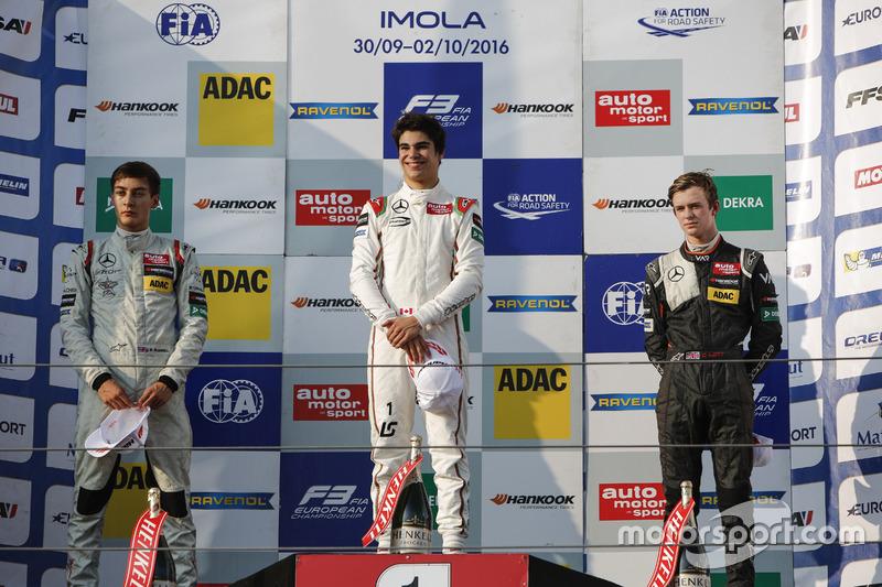 Podium: Sieger Lance Stroll, Prema Powerteam, Dallara F312, Mercedes-Benz; 2. George Russell, Hitech