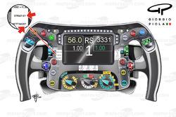 Le volant de Nico Rosberg, Mercedes, vue détaillée