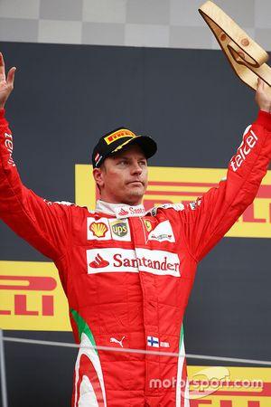Kimi Raikkonen, Ferrari celebra su tercer puesto en el podio