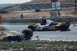 Pierluigi Martini, Minardi, stops on track to help Martin Donnelly, Team Lotus, after a horrific crash