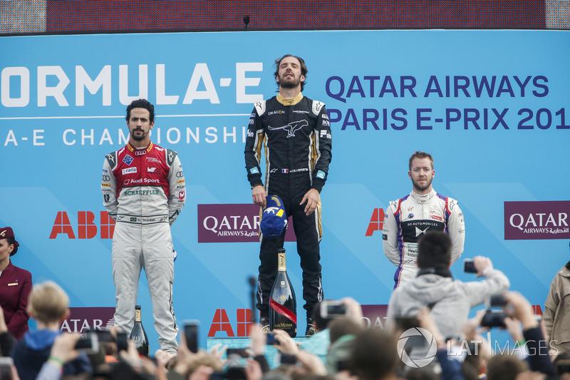 Jean-Eric Vergne, Techeetah, wins the Paris ePrix, Lucas di Grassi, Audi Sport ABT Schaeffler, in 2nd, Sam Bird, DS Virgin Racing, in 3rd